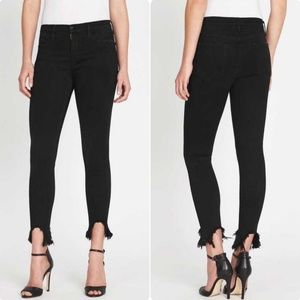 Frame Le High Rise Skinny Raw Hem 29 Blackfish